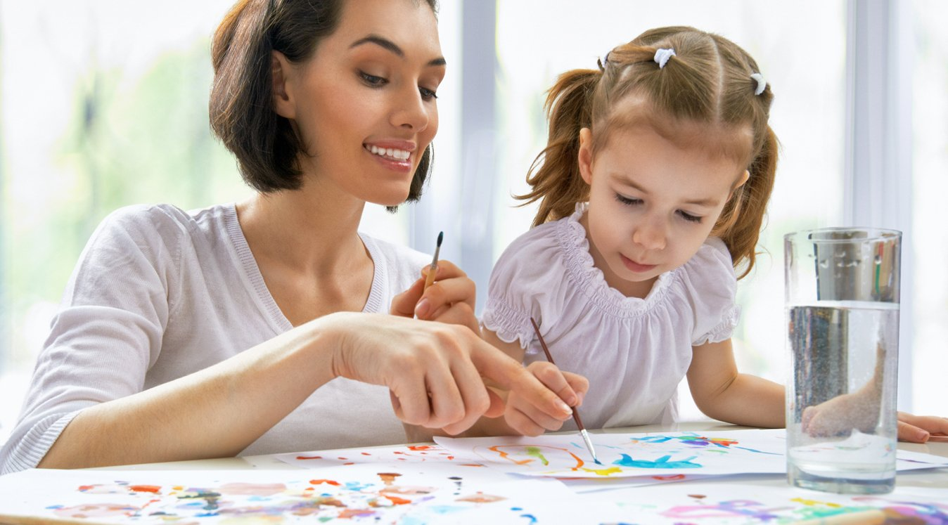 Woman Painting With Child