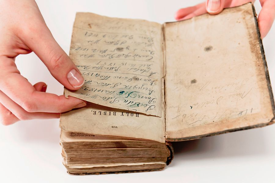 Inside Pages of an Antique Bible