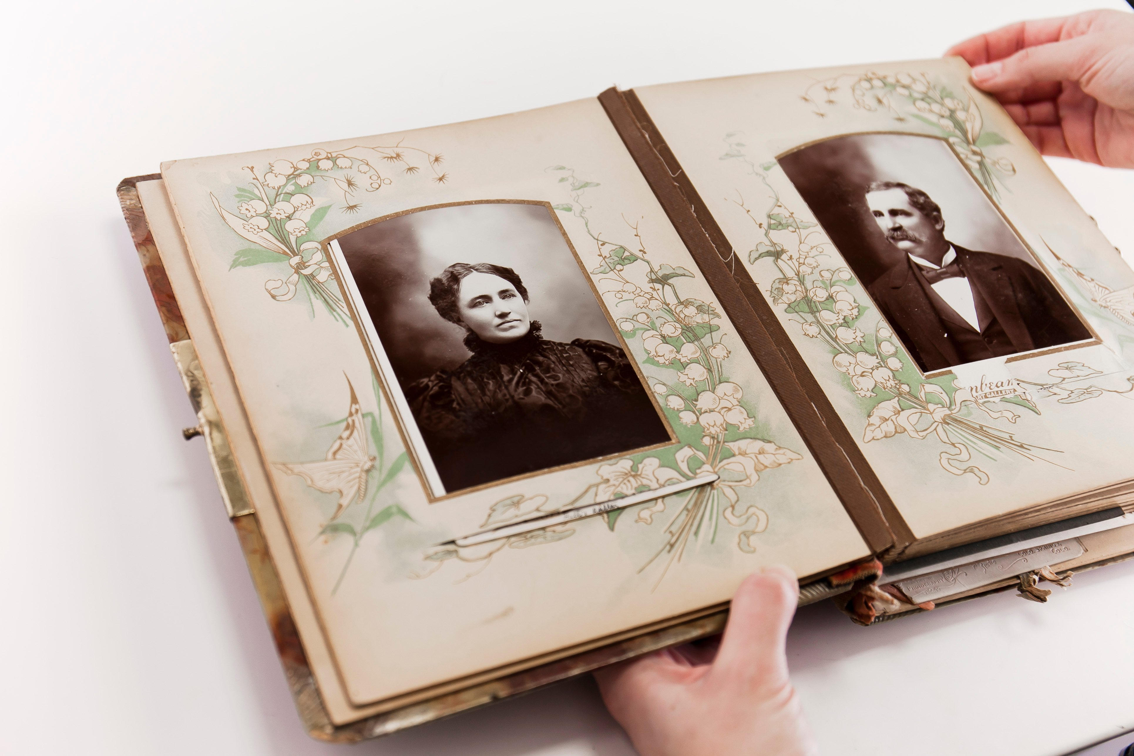 Vintage Photo Album with Man and Woman