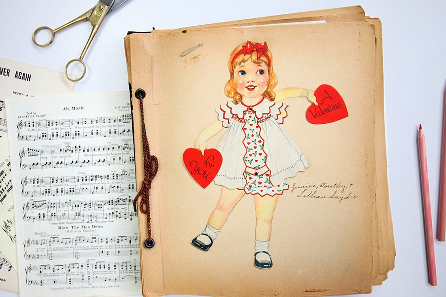 An Antique Card Collection Album Dating Pre 1930s This Includes Blank Pages Where Valentines Day Cards And Other Are Pasted Within Their