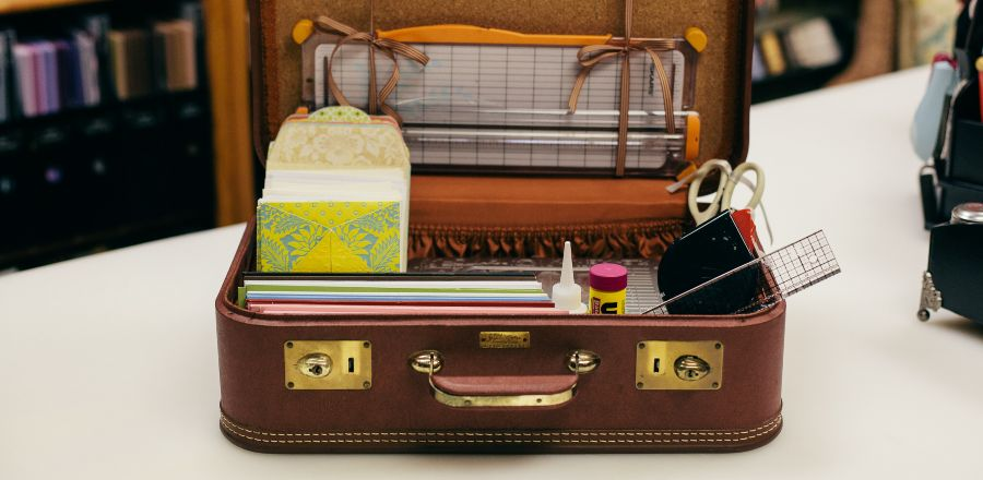 Vintage Suitcase with Scrapping Supplies