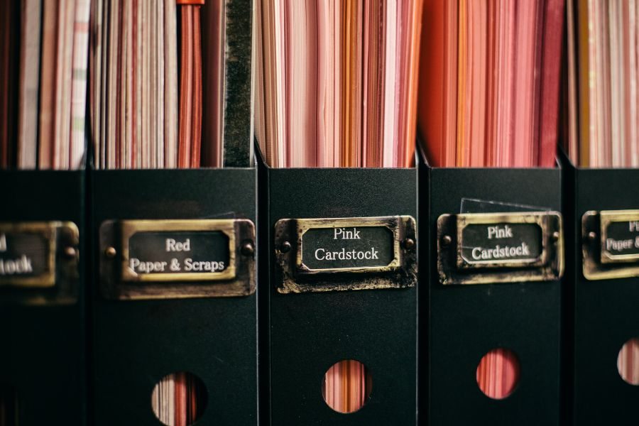 Vertical Cardstock Storage by Color