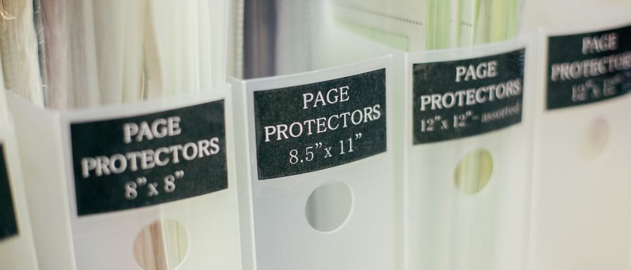 Storing Extra Scrapbook Page Protectors In Vertical Bins