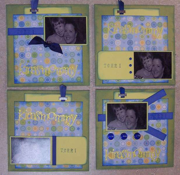 green yellow blue yearbook pages