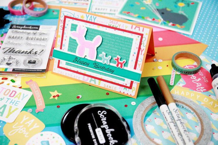 Happy Birthday - Balloon Animals - Card