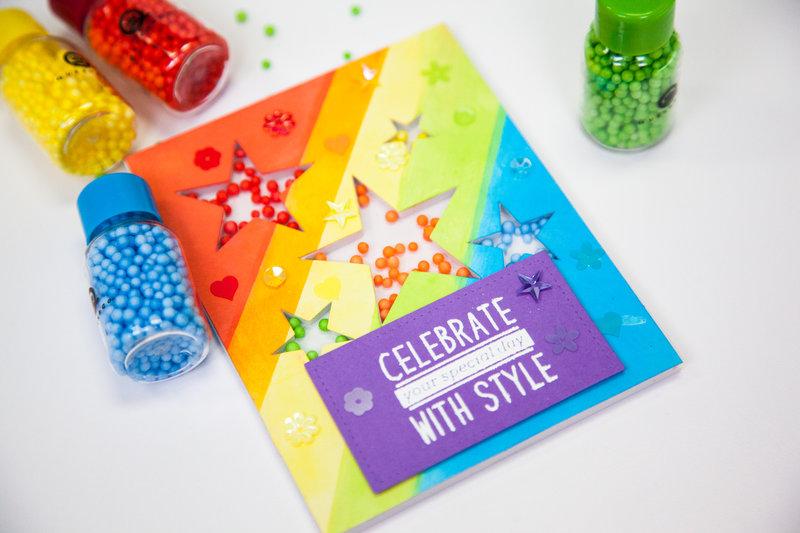 Rainbow shaker card