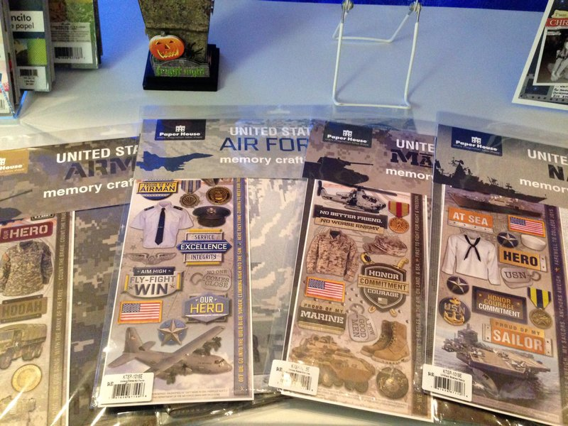 Paperhouse 12 x 12 military paper and embellishment kits SPC Trade Show Summer 2014