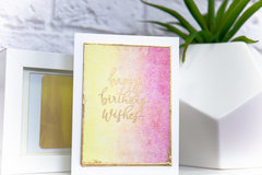 Birthday Wishes Stamped and Embossed Watercolor Background Card