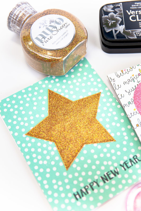 Happy New Year Glitter Stamped Card