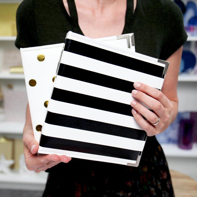 Black & White Stripe, Gold Dot 6x8 Albums