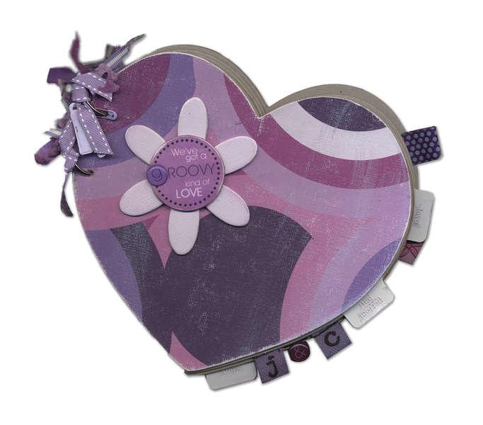 """Groovy Love"" Heart Shaped Anniversary Chipboard Album"