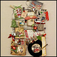 Vintage Christmas Mixed Media Project - Altered Skirt Hanger