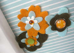 Cute Felt Flowers with Brads (close-up)