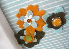 Cute Felt Flowers with Brads (close-up)