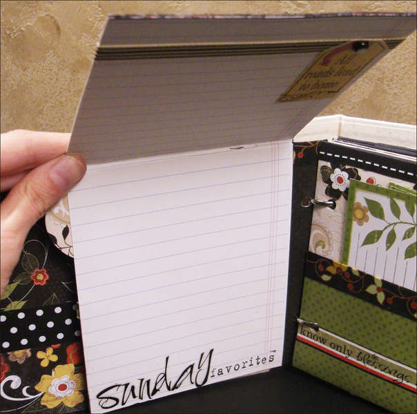 """Good Eats"" Recipe Mini Album Sunday Favorites Flip Page"