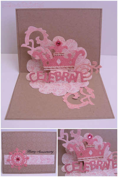 Happy Anniversary card - Sizzix Bigz Die - Card, Scallop Circle 3-D (Pop-Up)