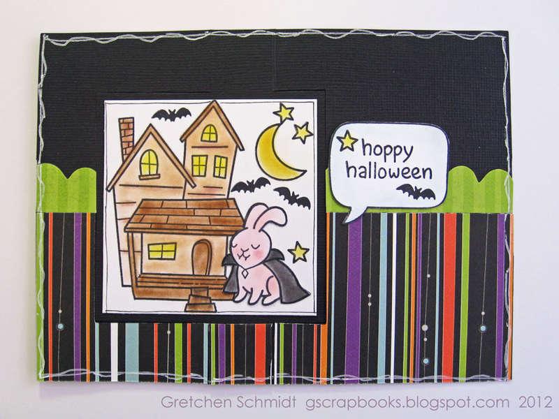Hoppy Halloween card - inside