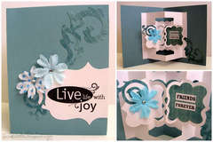 Live Life With Joy card - Sizzix Bigz Die – Card w/ Floating Frames 3-D (Pop-Up)