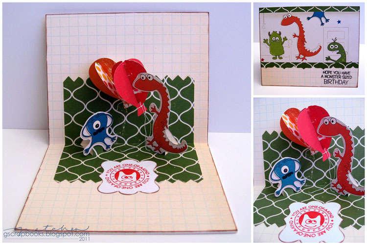 Monster Birthday card - Sizzix Bigz Die Zig Zag 3-D (Pop-Up)