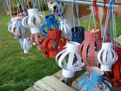 red, white, and blue lanterns (decoration idea - close up)