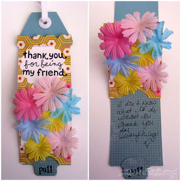 Thank You For Being My Friend tag - Sizzix Bigz XL Die Pull Tag Frame Scallop