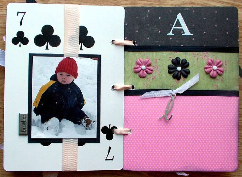 """a"" page of heidi swapp playing cards album"