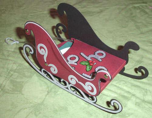 Santa sleigh card/ornament