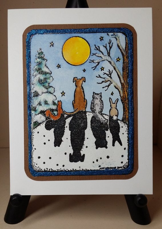 Northwoods Moonlight Animals in Rectangle Frame