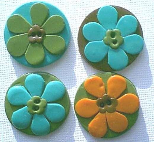 Flower Clay Buttons