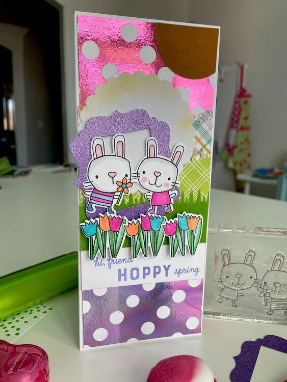 Hoppy Spring Deco Foil Slimline Card