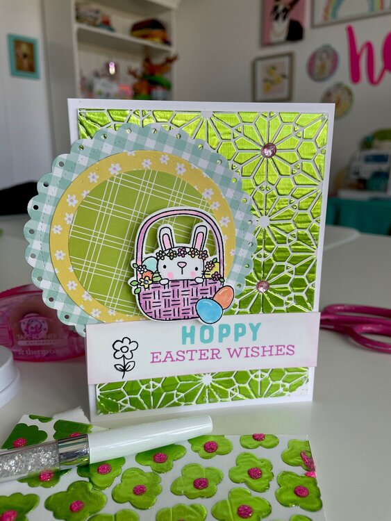 Hoppy Easter Wishes Deco Foil Card