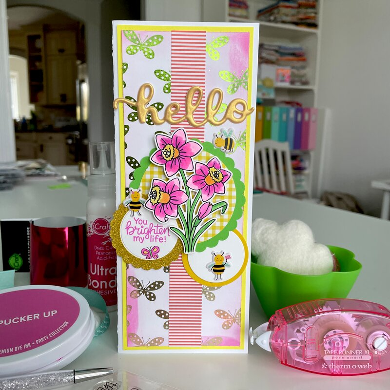Hello You Brighten My Life Slimline Card
