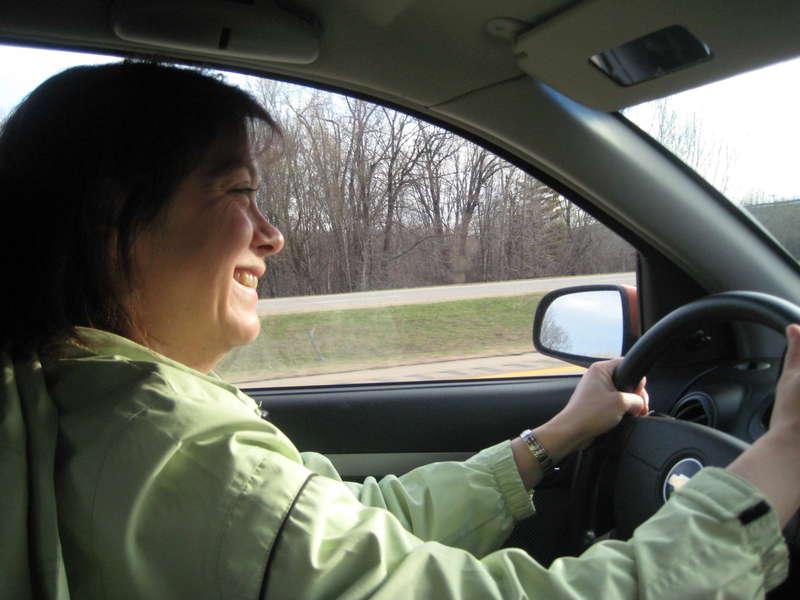 Jen driving