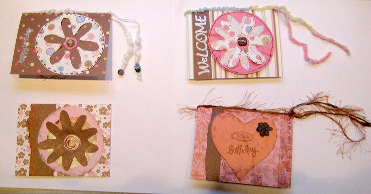 Feb Cards - pink & brown