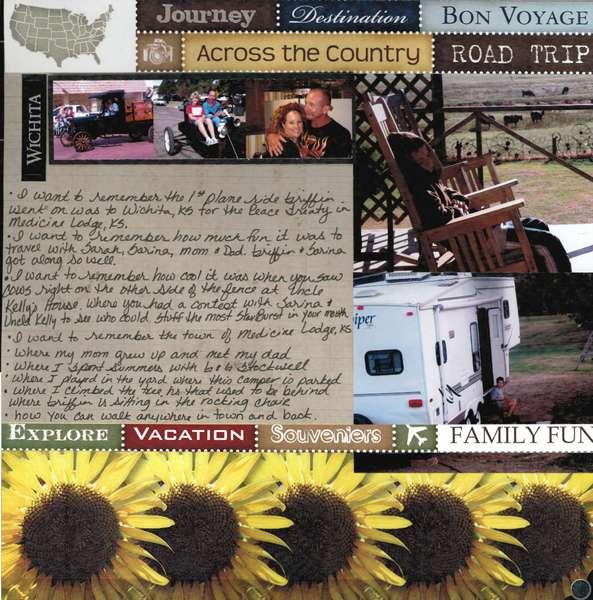 Kansas 2011 Pg 1 featuring Scrapbook Customs Kansas and Travel Papers