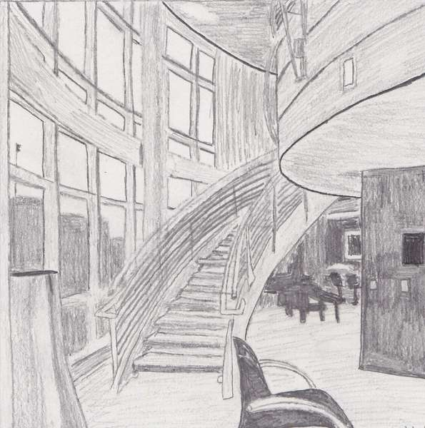 Pencil Drawing - Radisson Plaza, Downtown Kalamazoo