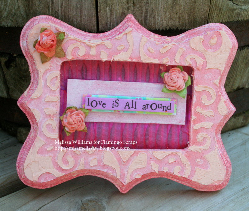 Love is all around altered frame ***Flamingo Scraps***