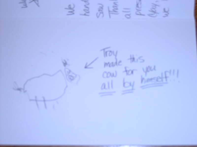 """Troy's first """"real"""" drawing! (It's a cow.)"""