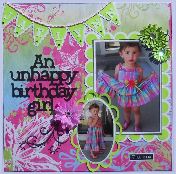 An unhappy birthday girl