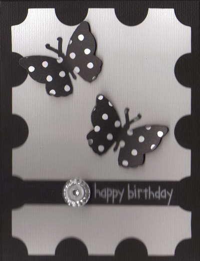 b/w Happy Birthday Card