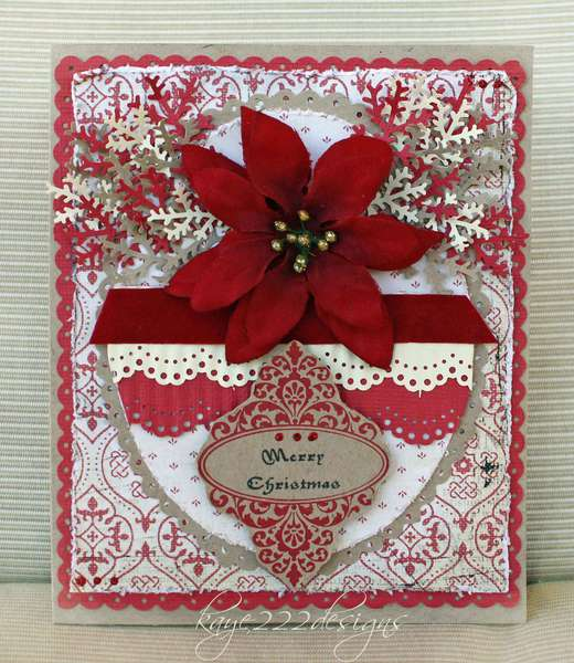 """""""Poinsettia Vintage Christmas"""" Card"""