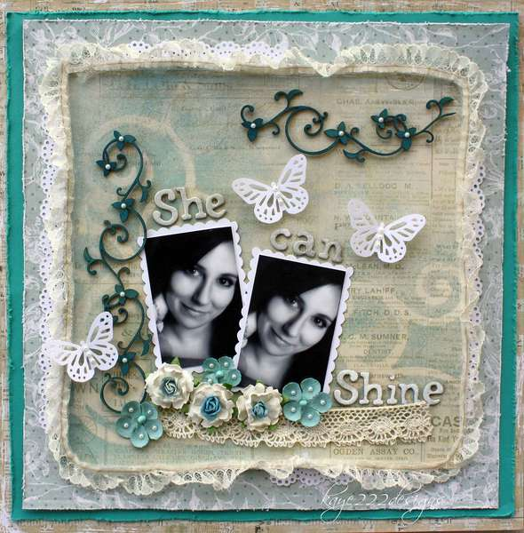 "SHE CAN SHINE **SCRAP THAT! OCTOBER ""BELLA ROSA"" KIT FEATURING PRIMA ROMANTIQUE"