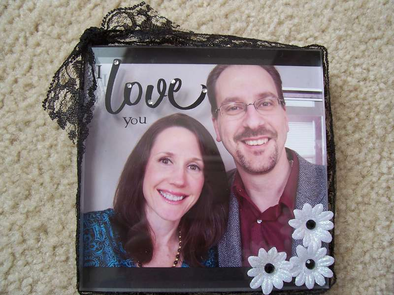 """I love you"" acrylic block frame"