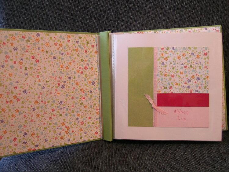 Shower Gift- Baby Girl Album- Front inside cover