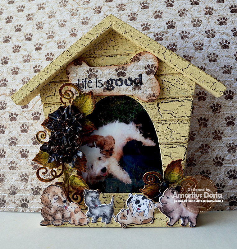 Altered puppy wooden picture frame