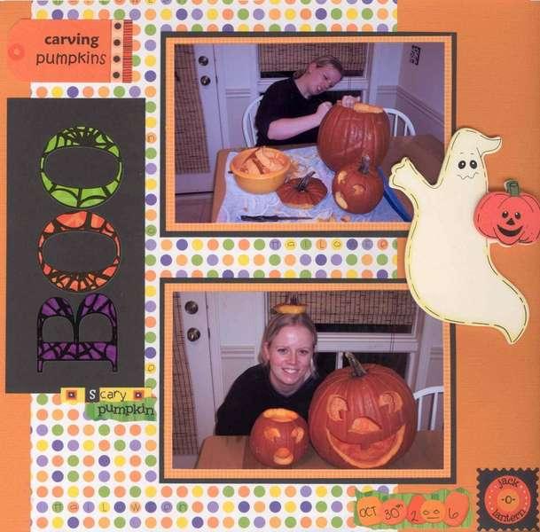 Boo!  Carving Pumpkins