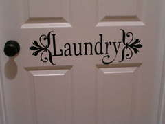 Vinyl Laundry Room Door Sign - Close-Up