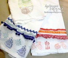 Handmade Stamped Tea Towels