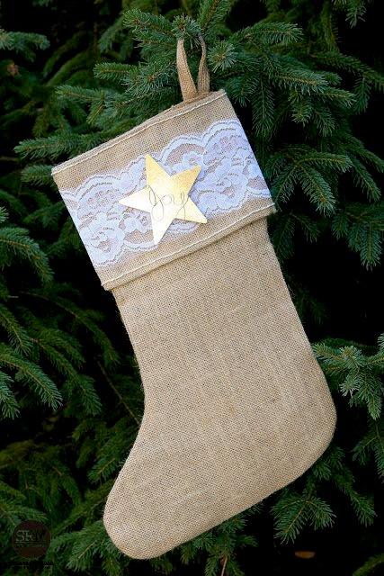 Burlap & Lace Christmas Stocking