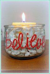 Believe Patterned Vinyl Candle Holder